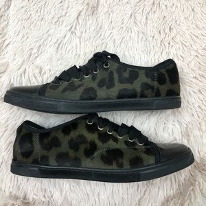 Lanvin pony hair green leopard print sneakers